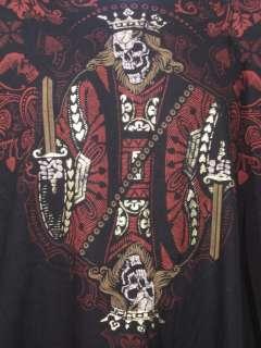 Mens Liquid Blue T Shirt Skeletal King Of Hearts XL