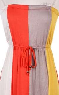 Color Block Full Long Maxi Dress Front Ribbon Stretch Elastic