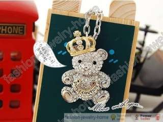 Fashion Full crystal Lovely bears Crown silver plated Necklace