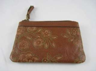FOSSIL BRAND SASHA EMBOSSED COIN COGNAC LEATHER COIN PURSE WALLET, NWT