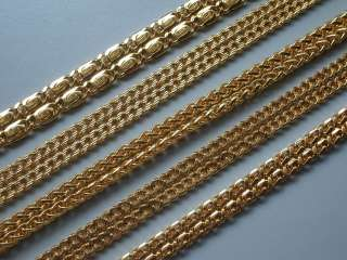 24KGP Yellow Gold Plated Mens Chain Necklace Multiple Pattern Heavy