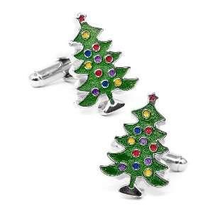 Decorated Christmas Tree Cufflinks Jewelry