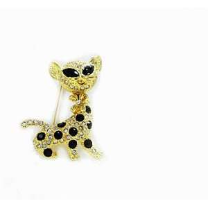 Goldtone with Black Crystals and Rhinestones Cat Brooch Pin Jewelry
