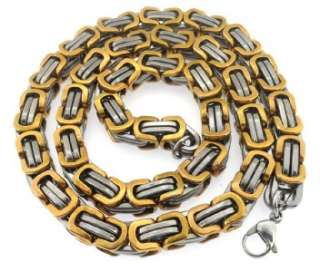 Gold Silver Tone Stainless Steel Byzantine Necklace Hot