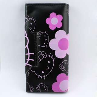 Black hello kitty KT bifold flap cover bag wallet purse