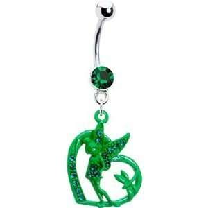 Green Heart Fairy Butterfly Dangle Belly button Navel Ring