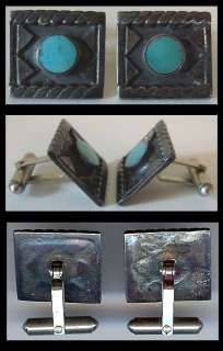 VINTAGE NAVAJO INDIAN STERLING SILVER & TURQUOISE CUFFLINKS