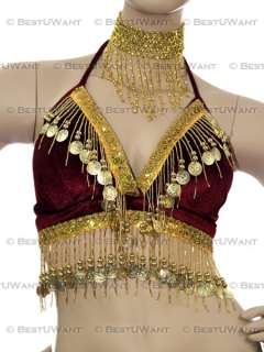 Belly Dance Velvet Tribal Bra Top Costume Plus Size XL