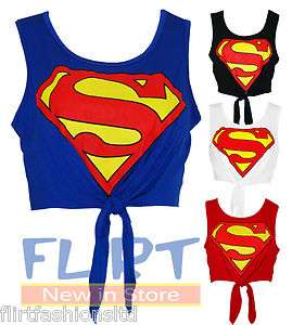 New Womens Superman Print Crop Top Ladies Knot Super Girl Printed