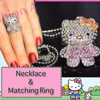 CUTE XL PINK CRYSTAL HELLO KITTY NECKLACE & RING SET