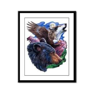 Framed Panel Print Bear Bald Eagle and Wolf: Everything Else