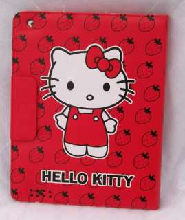 Hello Kitty leather case cover with stand for iPad2 red 4 accessory
