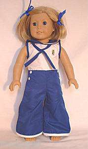 Kits Pajamas for 18 American Girl Doll clothes sailor blue white