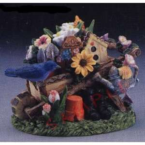 Bird and Wheel Barrel Figure Garden Scene Kitchen