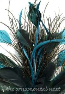 Teal Peacock Feathers Fan Tail Sequins Glitter Tree Topper Christmas