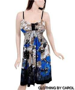 Blu/Blk Padded Bra Floral Spaghetti Strap Dress 2X NWOT