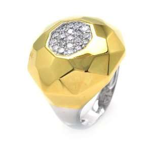 Silver Hammered Gold Plated 2 Toned CZ Round Ring Size 5 Jewelry
