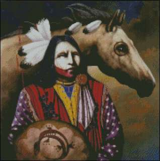 Native American Indian Themed v8 Cross Stitch Pattern