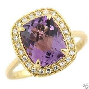 CUSHION CUT AMETHYST & DIAMONDS 14K YELLOW GOLD COCKTAIL RING HALO