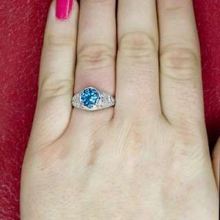 ROUND BLUE TOPAZ FILIGREE ENGRAVED ANTIQUE RING SILVER