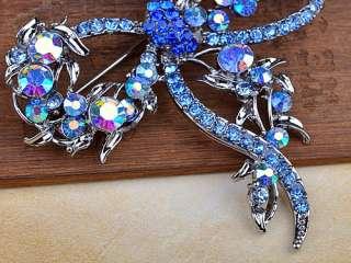 Capri Blue Colorful Crystal Rhinestone Dragonfly Bug Design Pin Brooch