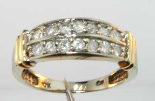 Natural Round Cut Diamond Solid 10k 2 Tone Gold Band Ring 3g