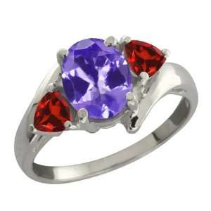 1.84 Ct Oval Blue Tanzanite and Red Garnet Sterling Silver