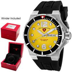 Swiss Legend Mens Abyssos Yellow Dial Black Silicon Automatic Watch