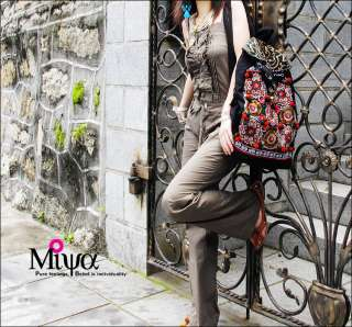 Handmade Ethnic Canvas with Embroidery Backpack Travel Bag Style C