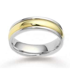 14k Two Tone Gold Shiny Smooth Fashionable Wedding Band Jewelry