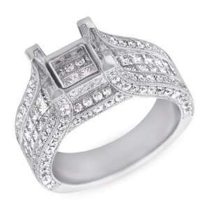 14k 2.16 Dwt Diamond White Gold Engagement Ring