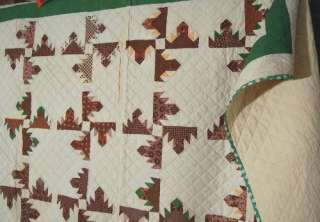 Delectable Mountain Hand Stitched Antique Quilt ~GREAT FABRICS