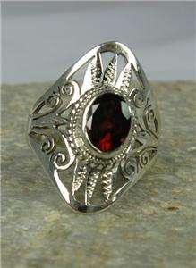 Garnet Sterling Silver Tribal Filigree Ring 8 Artisan Crafted New