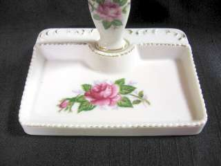 Porcelain Dresser Set Tray Mirror Perfume Bottle Dish
