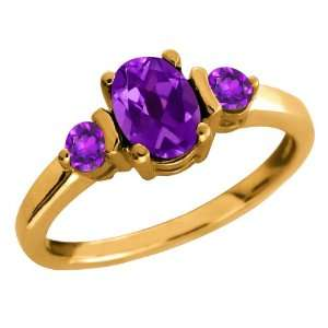 0.95 Ct Oval Purple Amethyst Gemstone Gold Plated Sterling