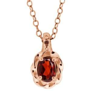 0.56 Ct Red Oval Garnet and Cognac Red Diamond 14k Rose