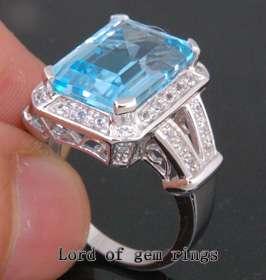 Emerald Cut 10.08CT BLUE TOPAZ Real 14K WHITE GOLD .48CT DIAMOND
