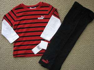 NWT Puma Pants L/S Tee Shirt Top Outfit Red Black Toddler Boys Free