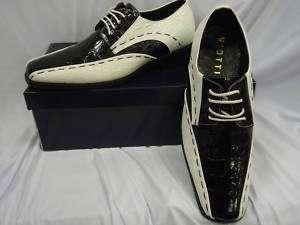 New Mens Black & White Stitch Croc Look Dress Shoes
