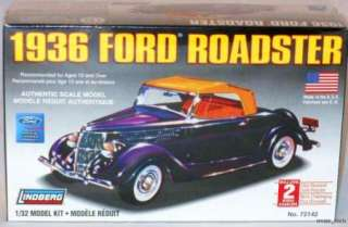 Lindberg 132 1936 Ford Roadster Plastic Authentic Scale Model Kit