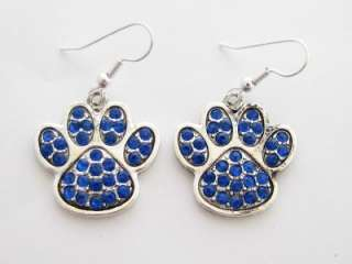 Kentucky Wildcats Blue Paw Print Crystal Fashion Earrings Jewelry UK