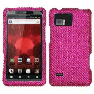 Hot Pink Crystal Diamond BLING Case Phone Cover Verizon Motorola Droid