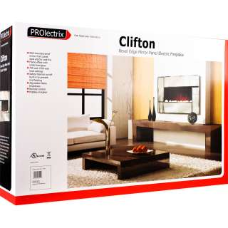 PROlectrix Clifton Bevel Edge Mirror Panel Electric Fireplace Heater