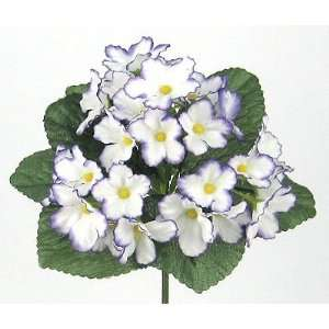 Artificial Silk African Violet Bush White Purple Violets: