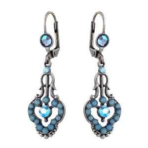 Earrings with Blue Swarovski Crystals   Handmade in Israel Michal