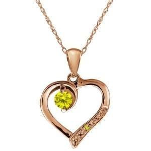 Canary Diamond Gemstone Gold Plated Sterling Silver Heart Pendant with