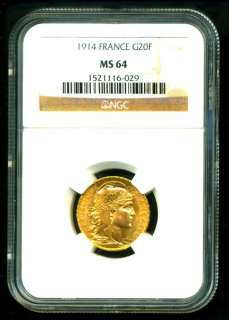 1914 FRENCH ROOSTER GOLD COIN 20 FRANCS * NGC MS 64 TOP