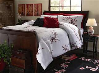 UNIQUE ASIAN INSPIRED CHERRY BLOSSOM LIGHT COMFORTER AND SHAMS NEW