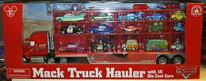 Disney Parks Pixar Cars Mack Semi Truck with 15 Diecast Cars NEW