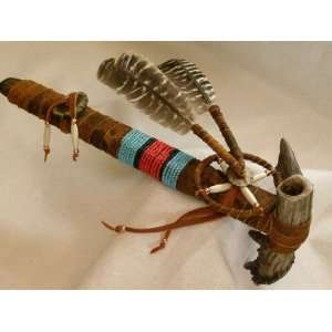 Native American Beaded Antler Pipe 12  Tigua (35